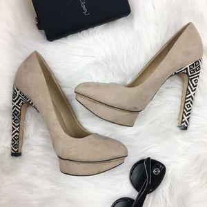 zara patterned spike tan suede platform heels